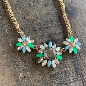 Green Blue Diamond Flower Necklace